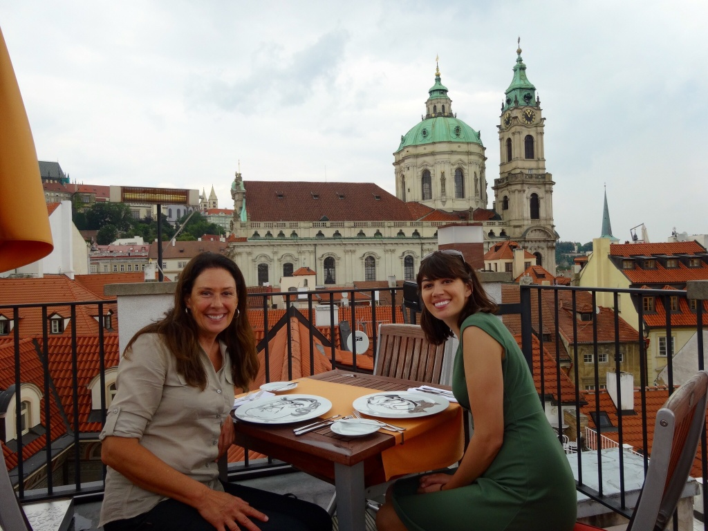 Dining at Coda Restaurant on the rooftop of Aria Hotel in Prague.