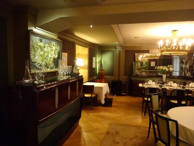 The indoor dining area at Coda Restaurant in Prague.