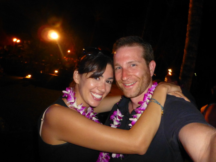 Maui Babymoon: Taking part in a couples dance at a Luau.