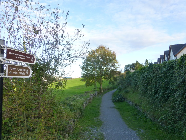 The start of the trail to the center of Kenmare, located right across the street from Brook Lane Hotel.