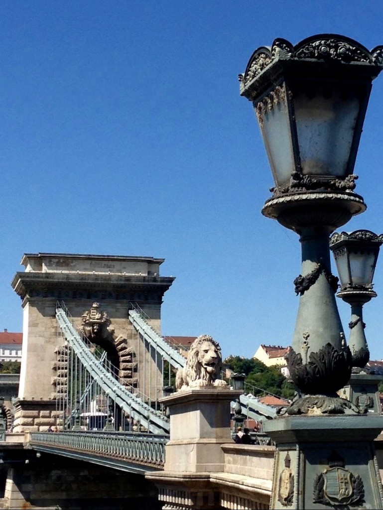 Stone Lions on Chain Bridge in Budapest.