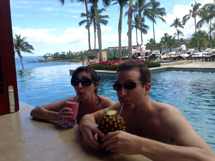 Mai Tai for Tom and awesome fruit smoothie for me at the Four Seasons swim-up bar.