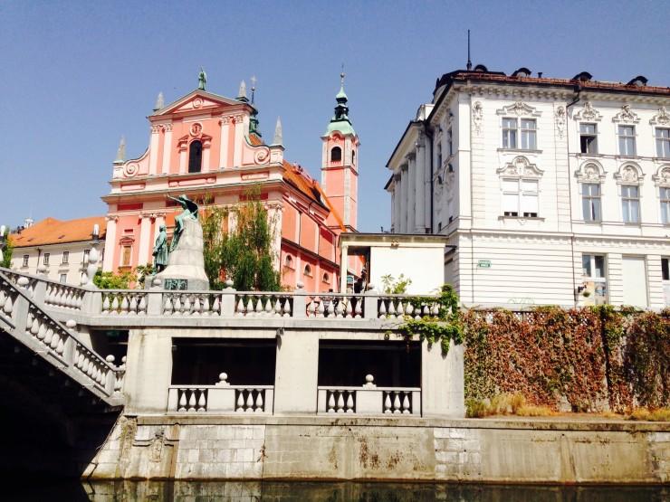 The double stories of Triple Bridge in Ljubljana.