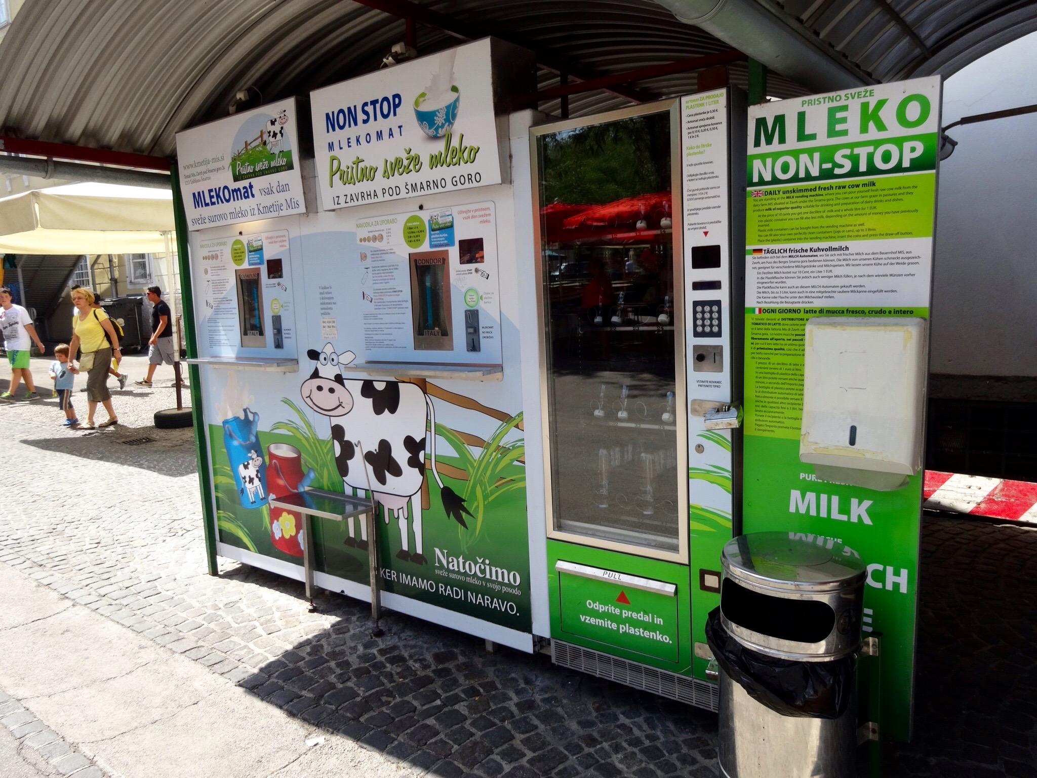 Mlekomat Milk Vending Machine in Ljubljana