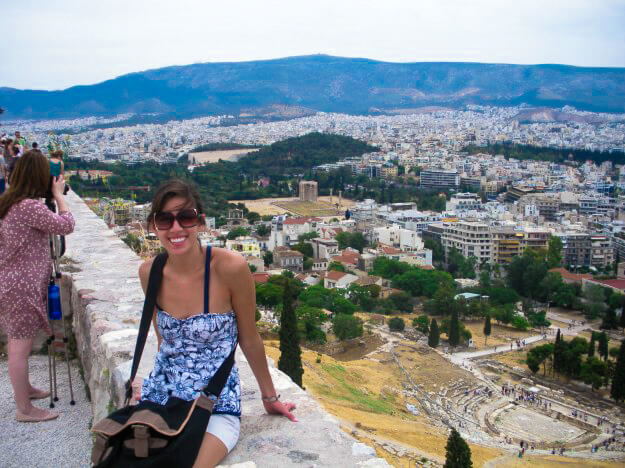 Athens may be a huge, sprawling, crowded metropolis, but it sure is magnificent. A view from atop the Acropolis -- Temple of Zeus and the old theater in the background.