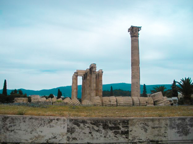 A fallen, broken column at the Temple of Olympian Zeus.