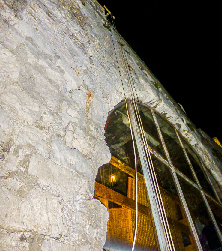 A pulley system on the side of the tower delivers drinks at Korcula's tower bar, Massimo Cocktail Bar
