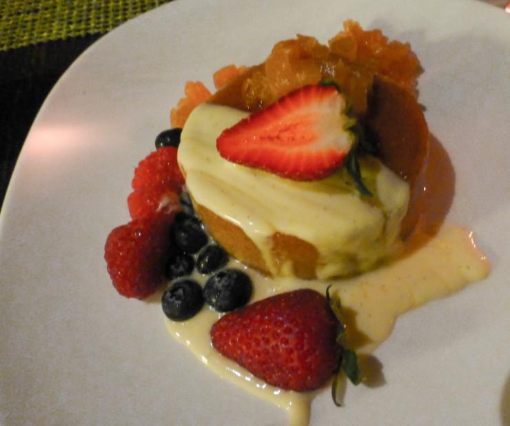 Wonderfully fresh fruit on the dessert at Ko Restaurant in Maui.