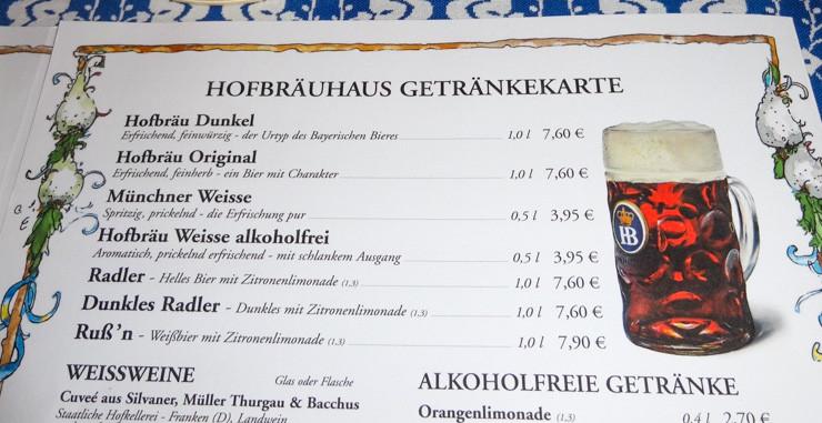 Hofbrahaus Beer Menu