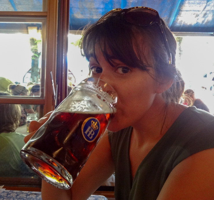 Drinking beer in Munich at Hofbrahaus