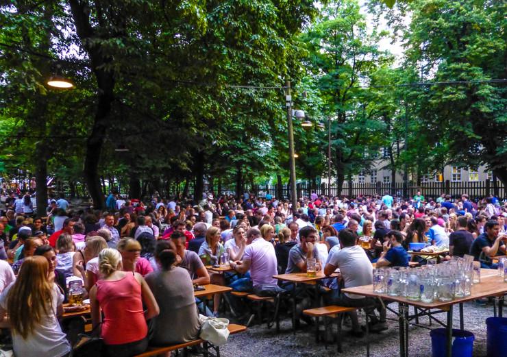 Enjoying some cool brews at a beer garden in Munich.