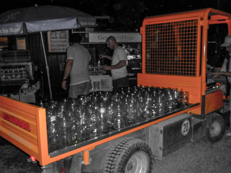 The beer gardens are so epic in Munich they need trucks to transport all the used beer mugs from the tables.