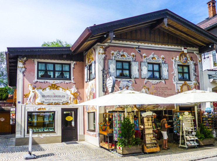 Even the shops are cute and frescoed in Oberammergau, Germany