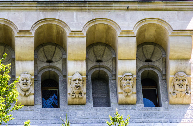 Faces on the side of Neuschwanstein Castle in Bavaria, Germany