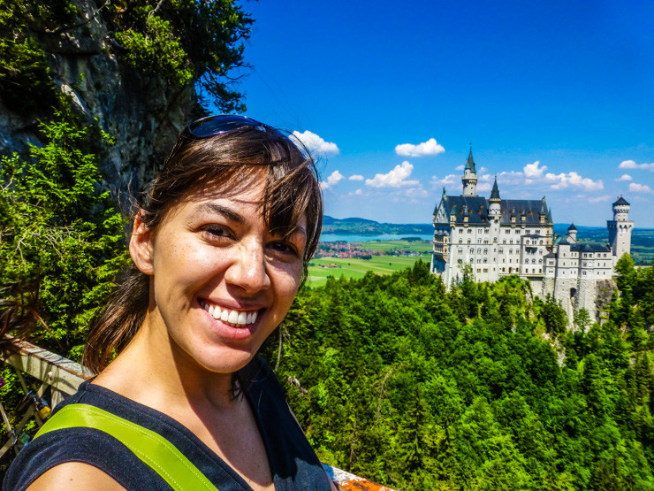 Me enjoying the Neuschwanstein Castle views...and the fact that the bridge wasn't falling.