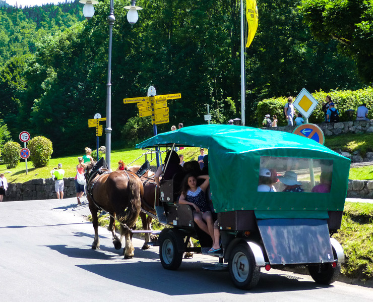 A horse-drawn carriage is one way to get to Neuschwanstein Castle.