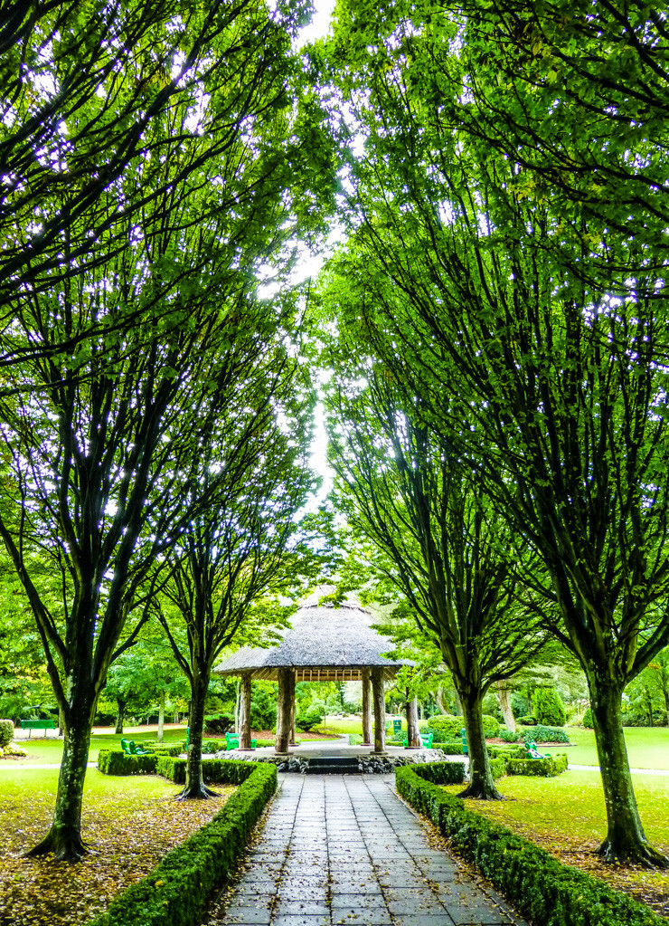 The gazebo in the middle and trail leading up to Village Park in Adare, Ireland, is particularly lovely.