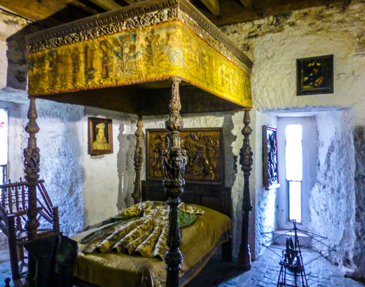 Medieval Bed in Bunratty Castle in Ireland.
