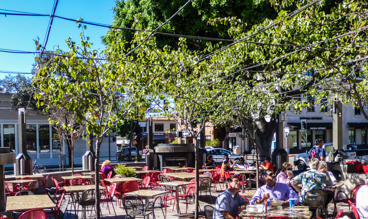 The patio of the restaurant that is home to my favorite sandwich in California. Read on to find out which city to find it in.