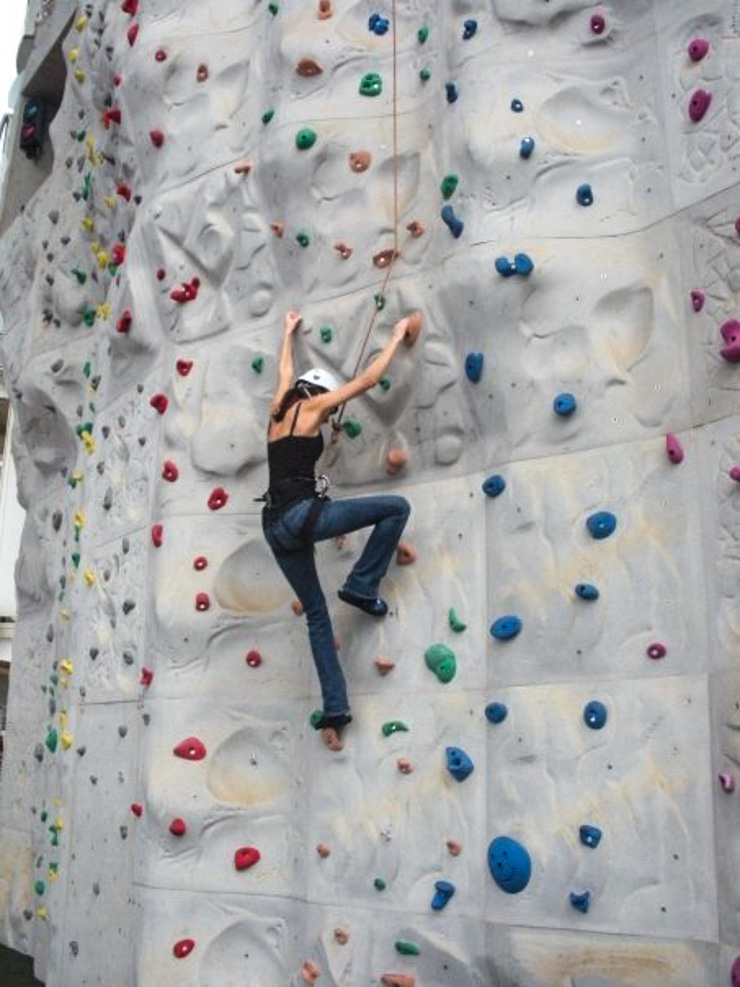 Rock climbing is included on some cruise ships (this one was onboard Royal Caribbean).
