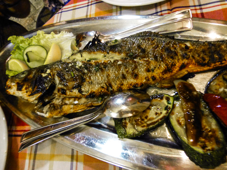 Fresh, yummy fish at Konoba Marco Polo Restaurant in Korcula's Old Town.
