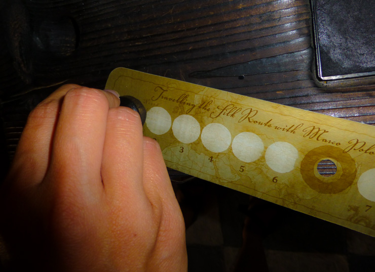 Stamping my Marco Polo Museum ticket.