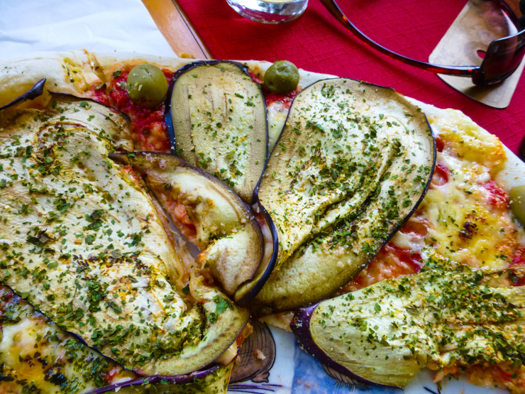 Delicious eggplant pizza at Pizzeria Tedeschi