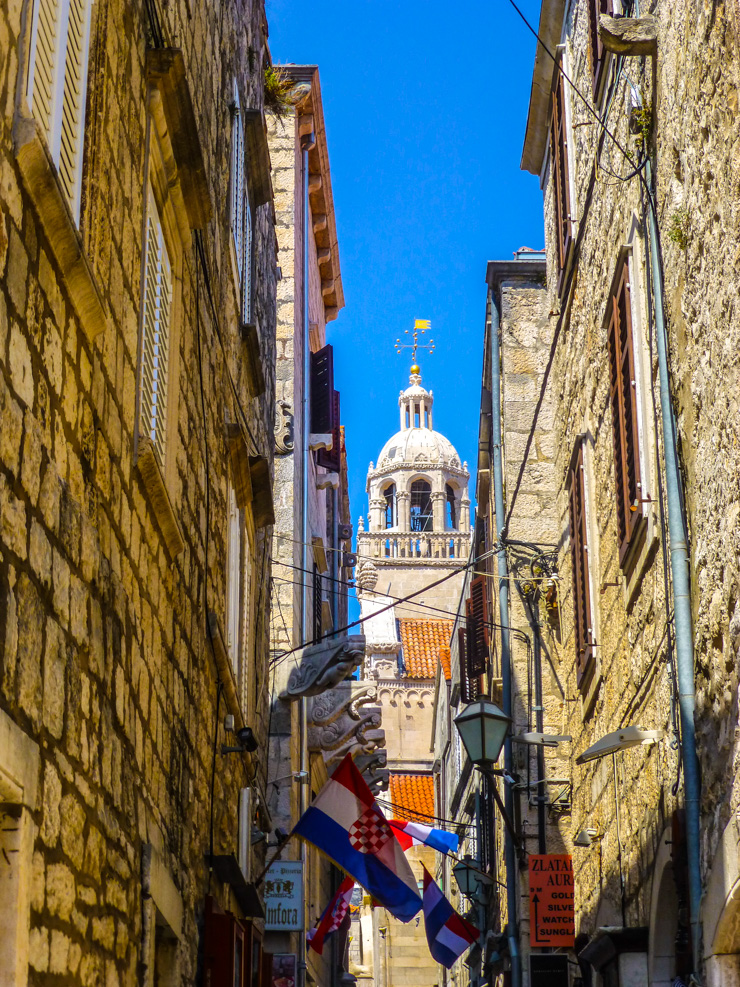 Korcula: A gorgeous glimpse of St. Mark's Cathedral in St. Mark's Square.
