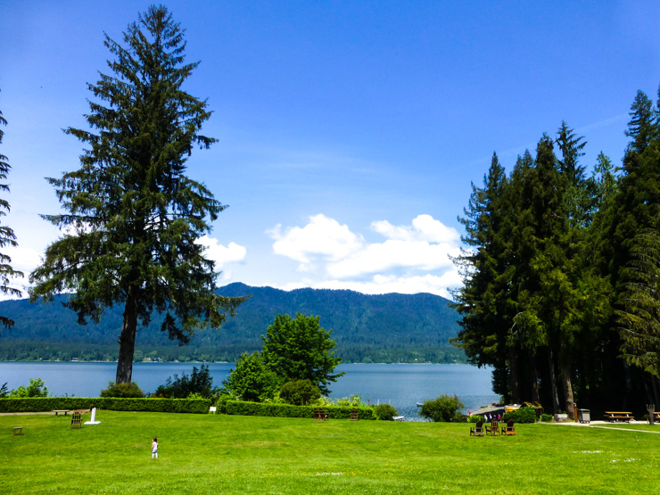 The lawn of Quinault Lake Lodge is perfect for relaxing.
