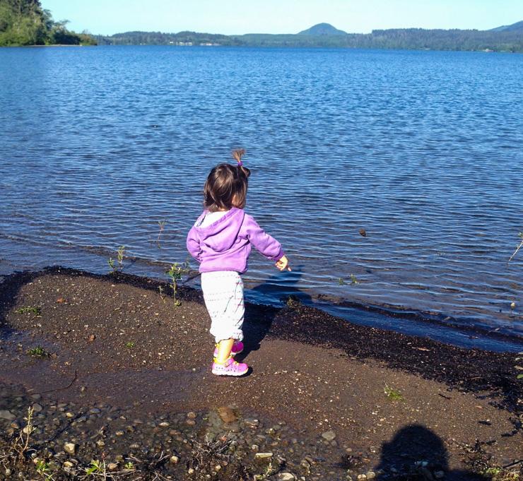 Throwing rocks in Lake Quinault.