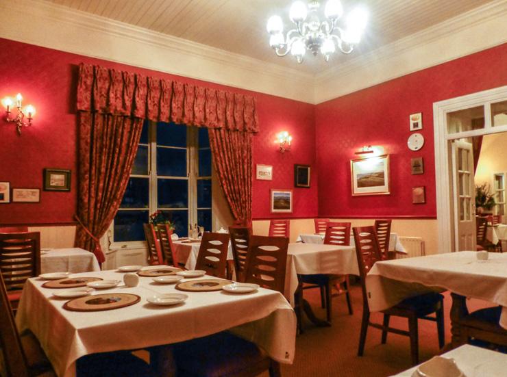 The elegant, yet relaxing interior of Rozzers Restaurant near Killarney, Ireland.