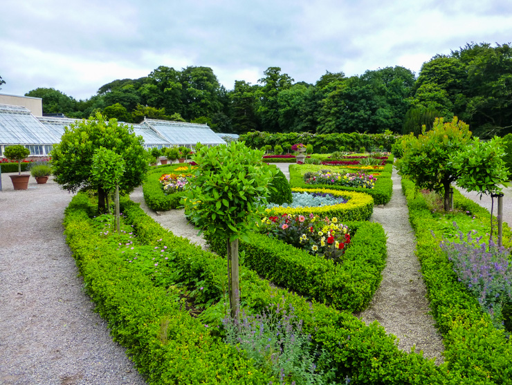 A small portion of the gardens at Muckross House with the greenhouse looking cafe (see the lunch section below) behind it.