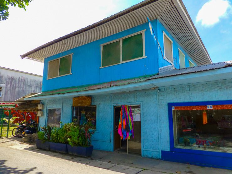 Colorful blue building on the island of Huahine.