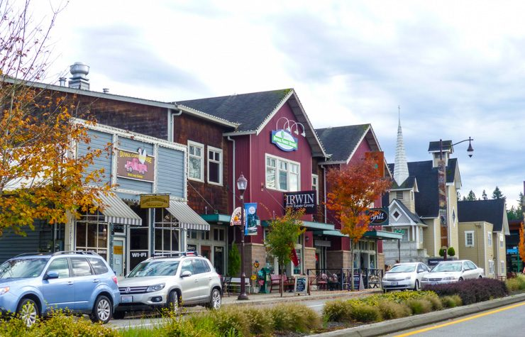 Cute little buildings in downtown Duvall, Washington in King County.