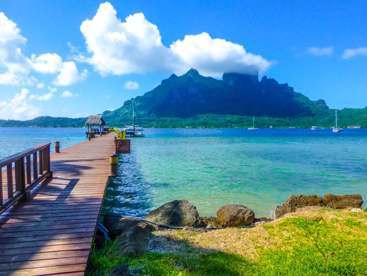 Pier overlooking the peak of Bora Bora in French Polynesia.