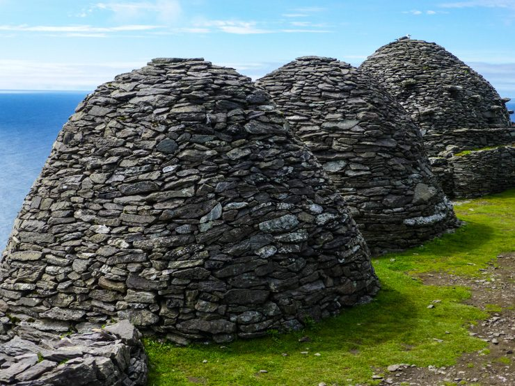 Beehive huts that monks used to live in on Skellig Michael.