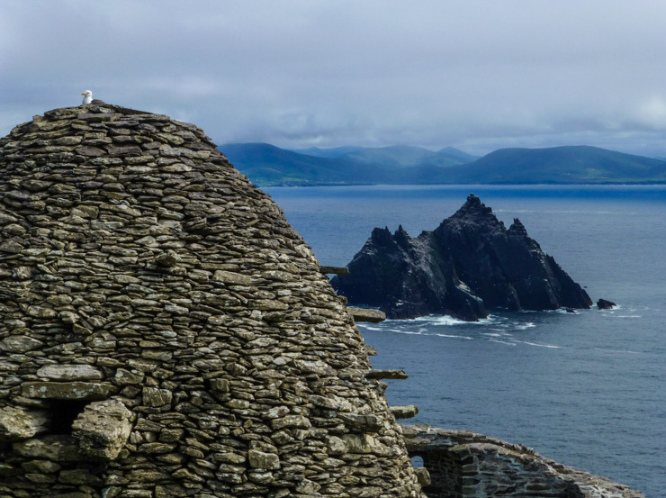 Skellig Rocks and the Ring of Kerry landscape in the distance.