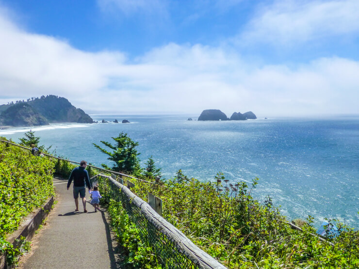 Scenic trail along the coastline from Cape Meares Lighthouse in Oregon.