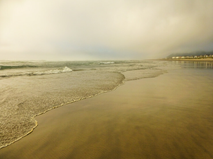 A lovely, empty Rockaway Beach Oregon at dusk, which felt even more magical on this hazy night.