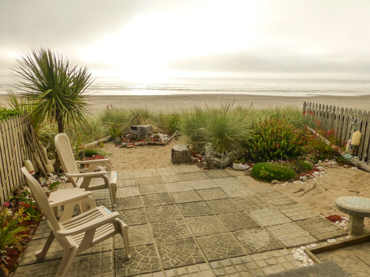 The patio of the townhome in Rockaway Beach we rented through VRBO.