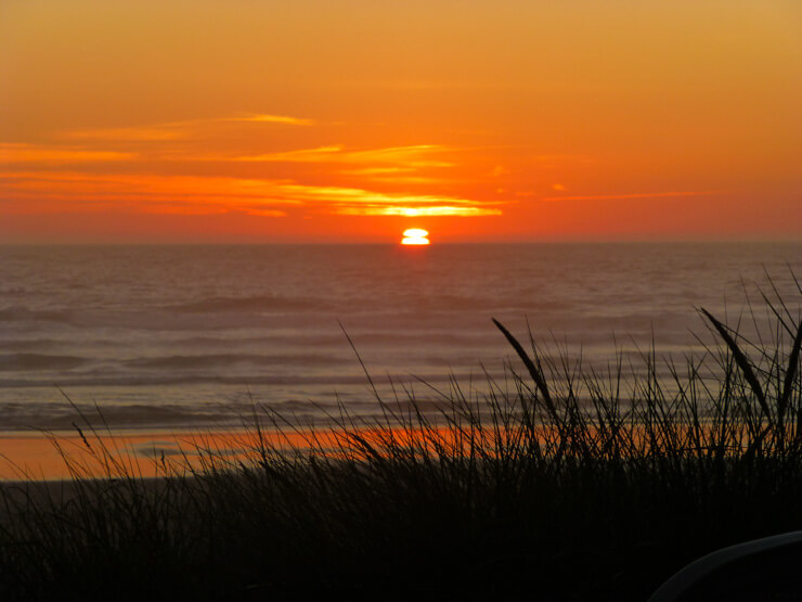 Rockaway Beach Oregon at sunset.