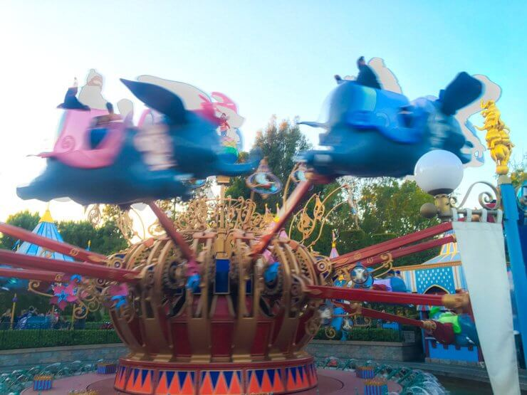 Dumbo Ride at Disneyland -- a great ride for toddlers.