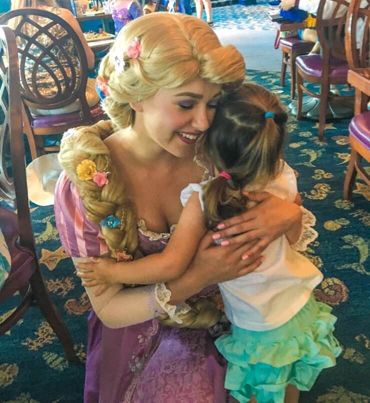 Meeting Rapunzel during Princess lunch at the California Adventure side of Disneyland.