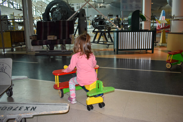Playing in the kid area at Evergreen Aviation and Space Museum.