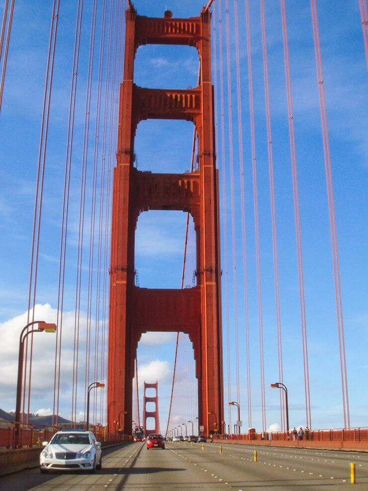 View of Golden Gate Bridge in San Francisco while driving across