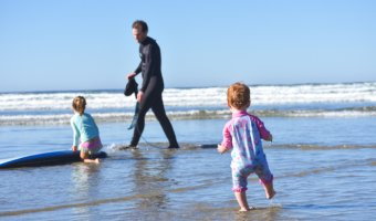 Surfing and playing in the ocean on Vancouver Island