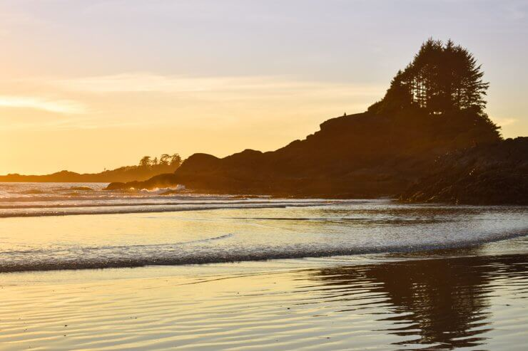 Sunset in Tofino at Cox Bay Beach