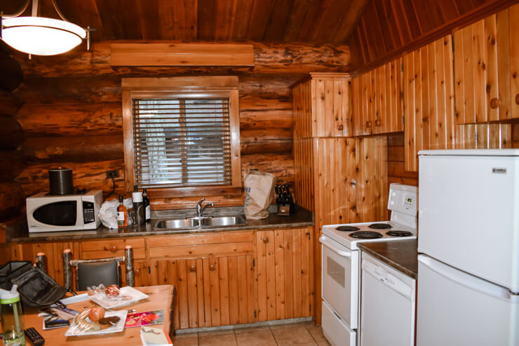 Fully equipped kitchen in our cabin at Tigh-na-mara in Parksville on Vancouver Island