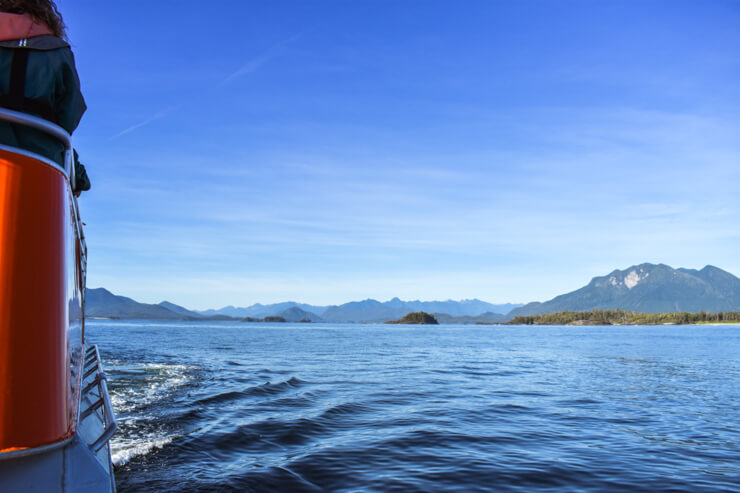 Scenic view from whale watching boat in Vancouver Island