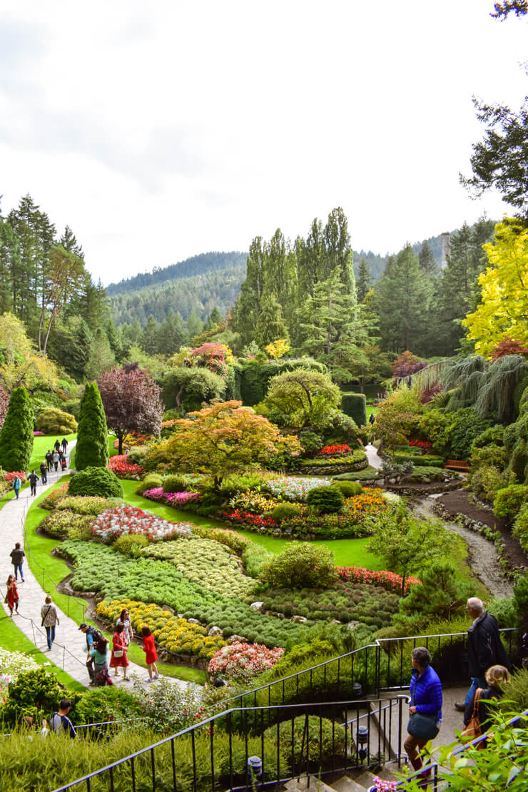 The Sunken Garden in Butchart Gardens on Vancouver Island, British Columbia